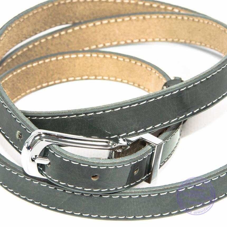 Узкий кожаный ремень серый - F-B-3_3, фото 2