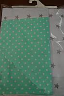 Детская сменная постель серо - мятного цвета с звездами и мелким горохом