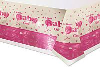 """Скатерть праздничная  полиэтиленовая  для девочки на 1 годик """"Baby Girl"""""""