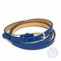 Узкий кожаный лаковый ремень синий - F-B-3_5