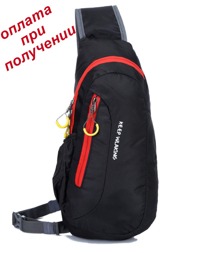 354628783545 Мужская спортивная тканевая сумка рюкзак бананка через плечо KEEP WALKING -