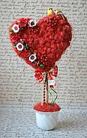 Композиція Серце сизаль 50 см Топиарий Композиция Сердце ручной работы
