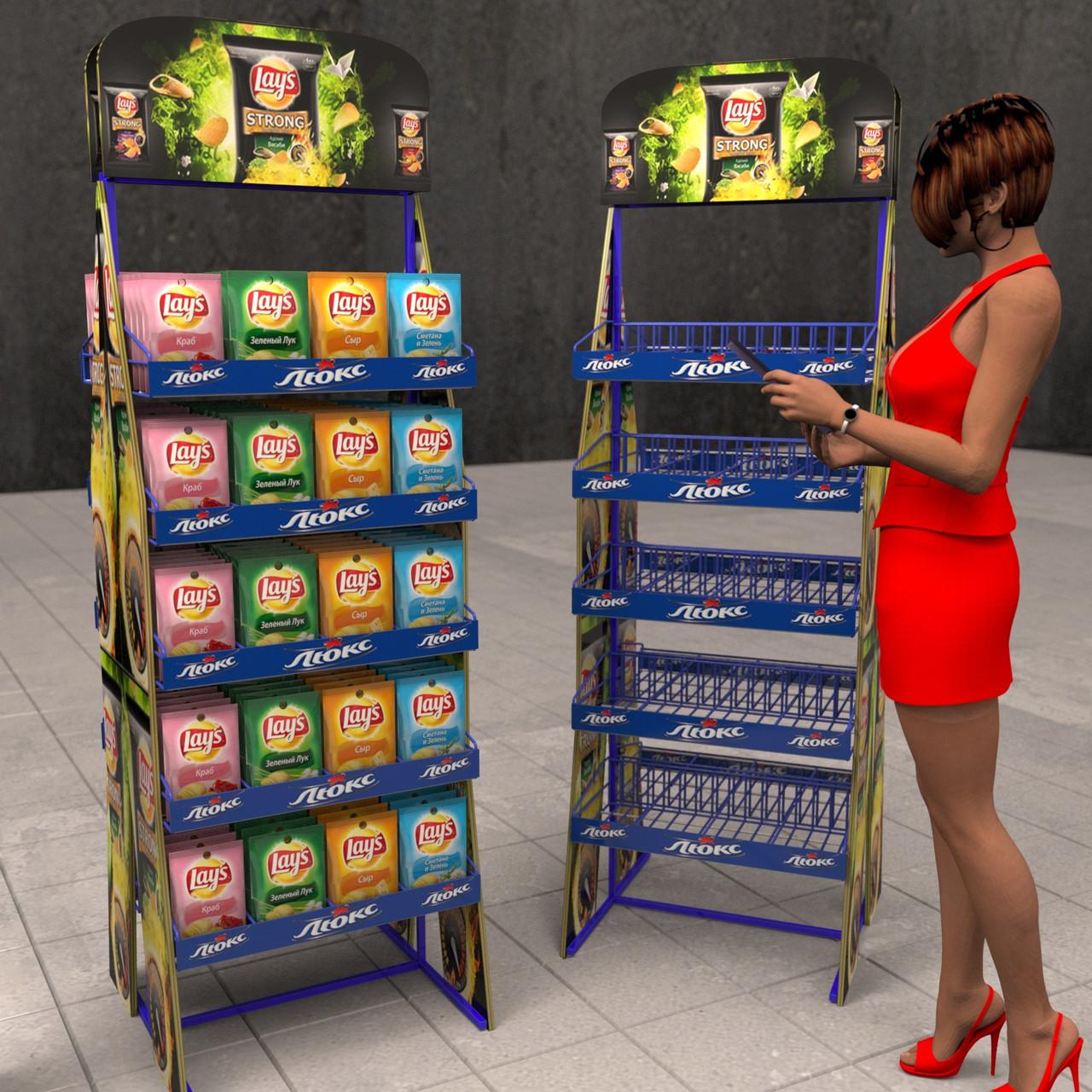 Торговые стойки с корзинами под чипсы