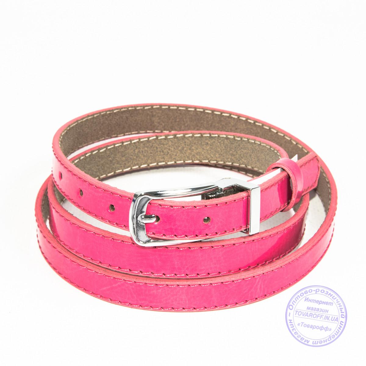 Узкий кожаный лаковый ремень розовый - F-B-3_6