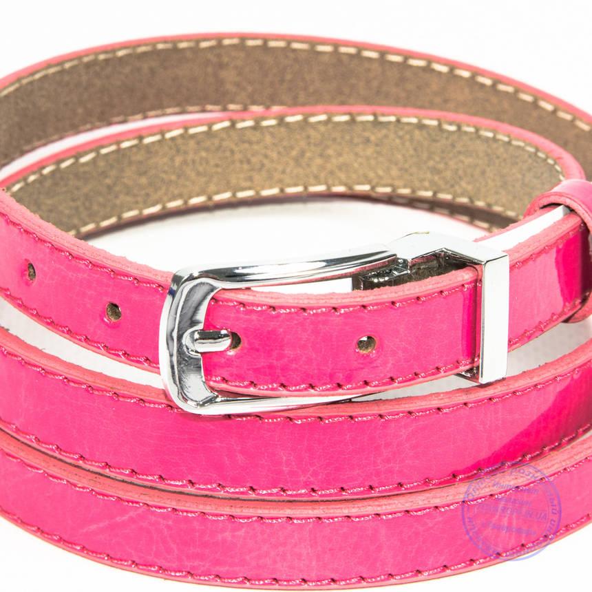 Узкий кожаный лаковый ремень розовый - F-B-3_6, фото 2