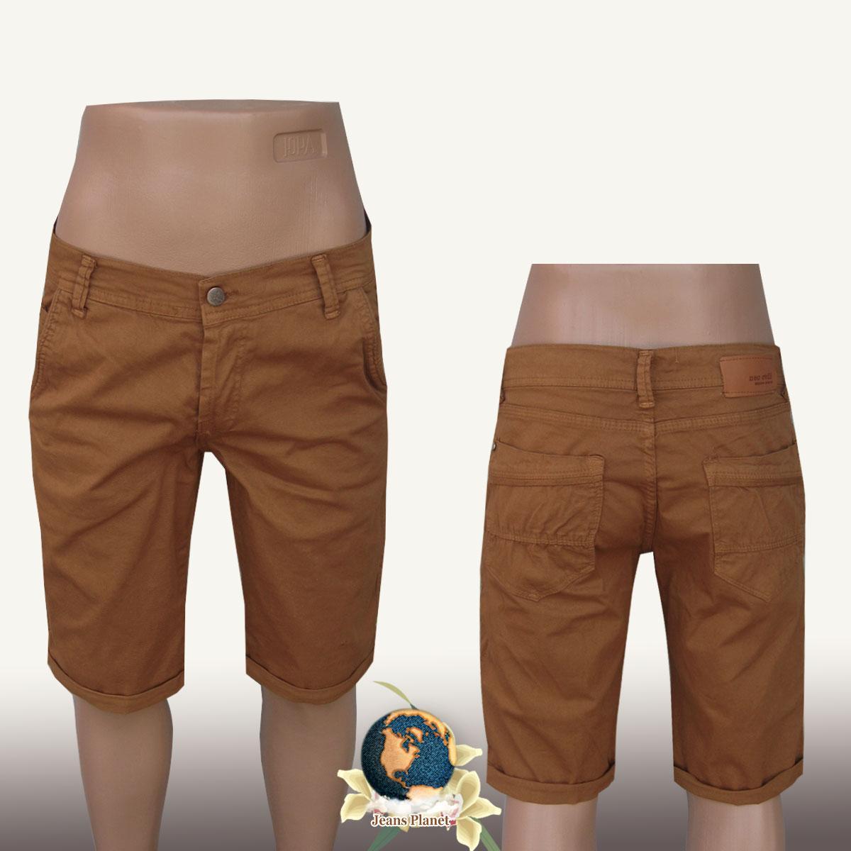 Шорты мужские стрейчевые Neo однотонного светло-коричневого цвета 36 размера