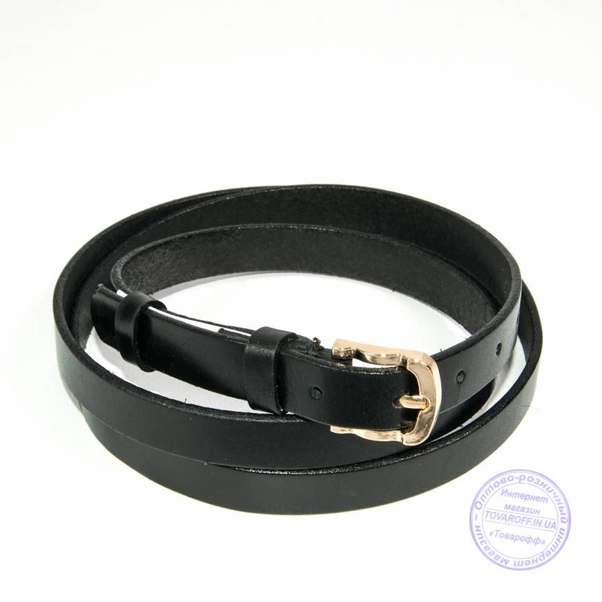 Узкий кожаный черный - F-B-3_9, фото 2