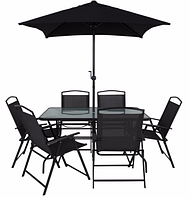 Набор садовой мебели George Home Miami 8 Piece Patio Set - Black & Charcoal, фото 1