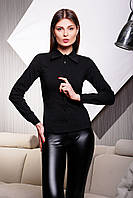 Классическая женская черная рубашка в мужском стиле с длинным рукавом