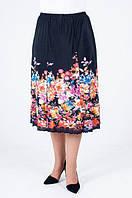 Красивая черная юбка с цветами на резинке до 62 размера