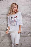 Модная молодежная летняя блуза с круживом