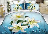 Комплект двухспальный, Лилия (голубой фон)