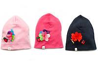 Детская трикотажная шапка с цветком для девочки (р.46-52)