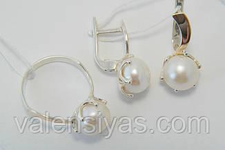 Красивый комплект серебряных украшений с жемчугом, фото 2