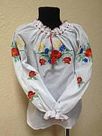 Біла блуза вишита гладдю з квітами Волошкове поле 4-6 років