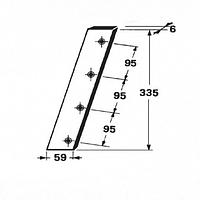 Нож поршня - неподвижный на пресс-подборщик Welger AP 61, 63 - 335мм. (58.451)