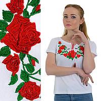 Вышитая футболка с коротким рукавом - Роза