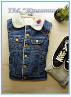 Джинсовые жилетки на меху с вашим логотипом (под заказ от 50 шт)