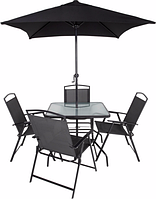 Набор садовой мебели George Home Miami 6 Piece Patio Set - Black & Charcoal, фото 1