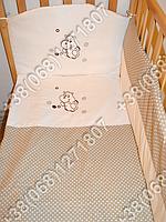 Детское постельное белье в кроватку с вышивкой Бегемотик, комплект 8 ед. без балдахина (бежевый)