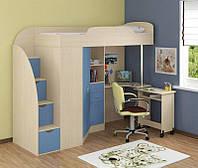 """Кровать чердак со шкафом и столом """"Комби"""" дуб молочный +голубой"""