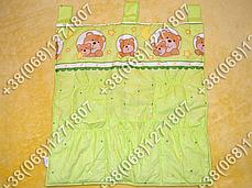 Карман органайзер 65х60 см для аксессуаров на детскую кроватку, салатовые расцветки, фото 2