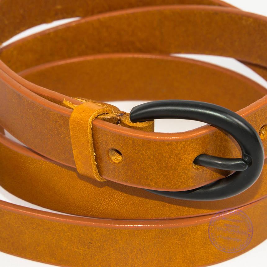 Кожаный ремень оранжевый - B-F3-5-3, фото 2
