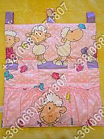 Карман органайзер 65х60 см для аксессуаров на детскую кроватку (розовые расцветки)
