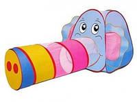 """Палатка детская с тоннелем """"Слоник"""". Слон с хоботом - тоннелем, Baby Tilly 889-87В"""