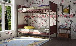 Кровать двухъярусная Металл-Дизайн Арлекино разборная металлическая с лестницей и быльцами