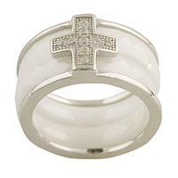"""Кольцо из серебра и белой керамики """"Крест"""""""