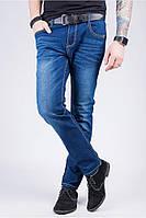 Классические темно-синие джинсы с отстрочкой