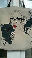 Сумка под вышивку Девушка и кошка