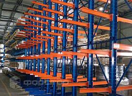 Консольные стеллажи для хранения пластикового профиля с нагрузкой до 250 кг. на консоль.