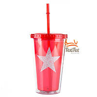 Многоразовый стакан с крышкой и трубочкой Star