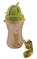 Детская бутылка для воды с трубочкой 450мл., зеленая (209)