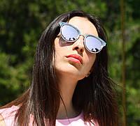 """Женские солнцезащитные зеркальные очки """"Dior"""" с розовыми стеклами"""