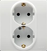 Розетка электрическая двойная с защитными шторками и заземлением