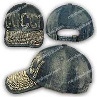 Джинсовая кепка с камнями, логотип Gucci, H1750_1, р. 56-57 см