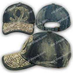 Джинсовая кепка с камнями, логотип Chanel, H1750_2, р. 56-57 см