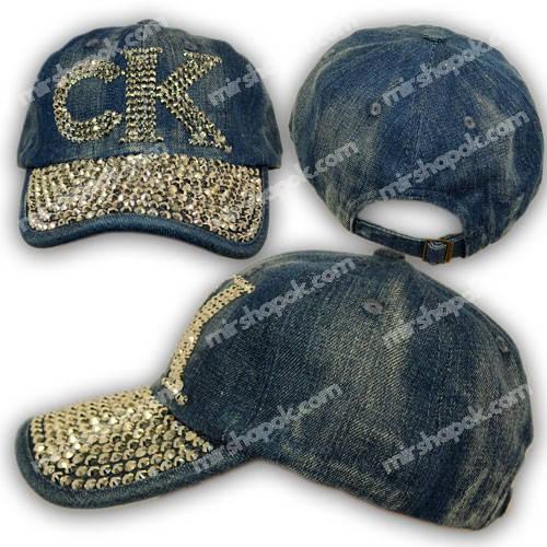 Джинсовая кепка с камнями, логотип Calvin Klein, H1750_3, р. 56-57 см
