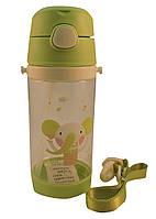 Детская бутылка для воды с трубочкой 500мл., зеленая (210)