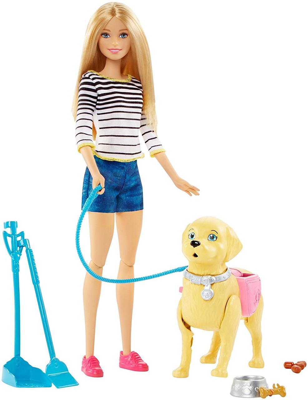 Кукла Барби с собакой Уход за питомцем Barbie Girls Walk and Potty Pup with Blonde Doll
