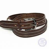 Кожаный мужской классический коричневый ремень - B-M4-8-3