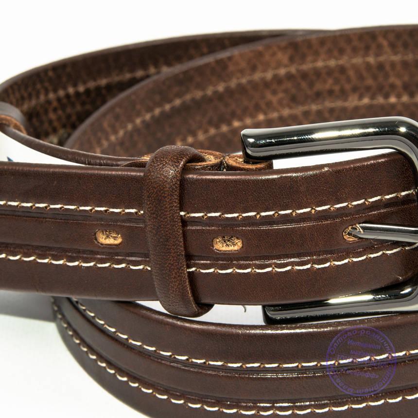 Кожаный мужской классический коричневый ремень - B-M4-8-3, фото 2