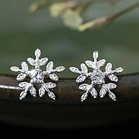 Серьги-гвоздики Снежинки с фианитом покрытие серебро 925 пробы