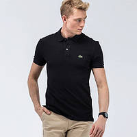 Поло мужская черная LACOSTE футболка лакосте