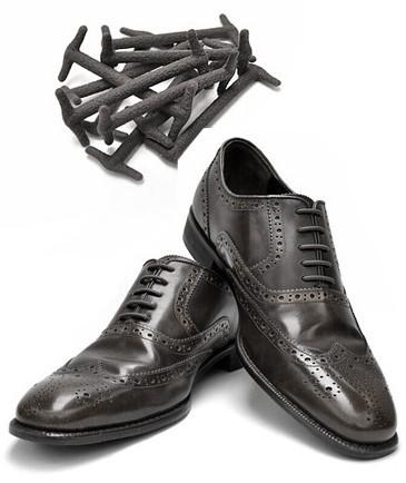 Силиконовые шнурки для кожаной обуви Черные