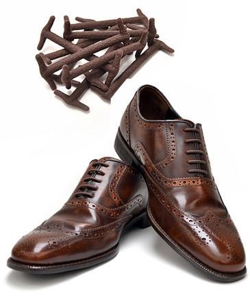 Силиконовые шнурки для кожаной обуви Коричневые