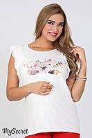 Хлопковая туника Jacqueline flower для беременных, молоко, фото 1
